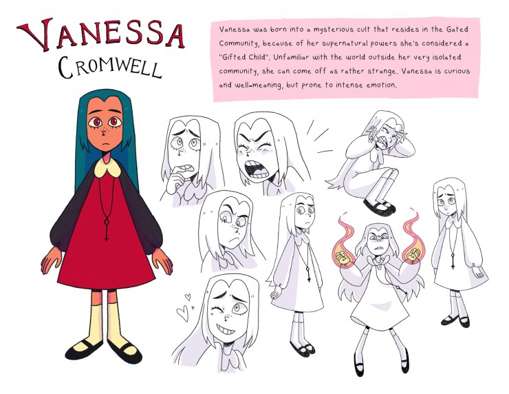 Character design of a young girl, about 12 with long blue hair and a red dress.