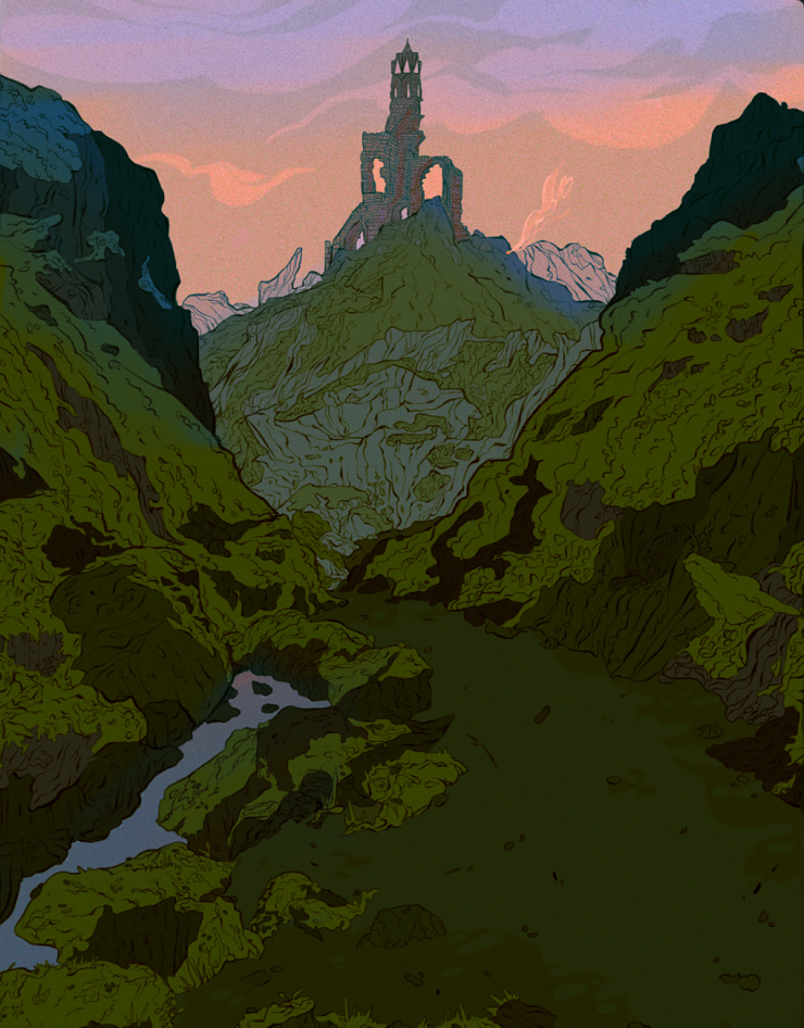 With a morning sky of pinks and purples, mossy mountains cascade along a winding path where far up a mountain the smoke of a campfire can be seen.