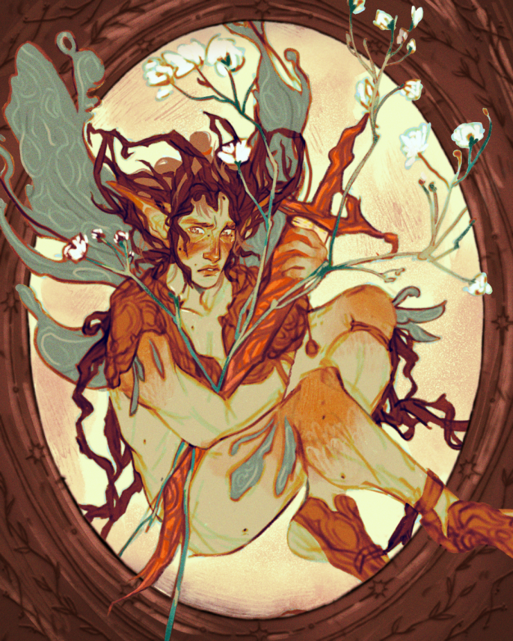 In a medium brown, wood burnt frame sits a fairy of light green skin and orange blush. Within their hands are cradled the flower Baby's Breath and a sheathed sword. With long blue-green wings and armor of bark, the fairy looks timid as if not ready to fig