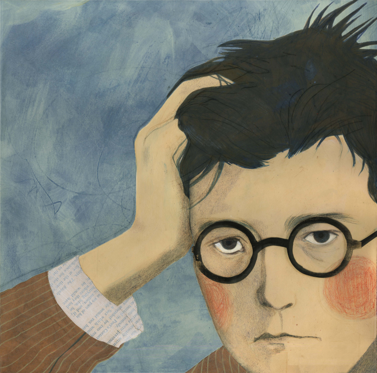 A mixed media portrait of Dmitri Shostakovich. With a light blue background, the portrait is made with colored pencils and collage, utilizing scanned paper textures in the clothing and glasses.