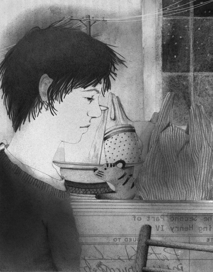 Black-and-white image of a young boy at home. On the counter in his kitchen there is a toy tiger among plates and plastic bags. A window above the clutter looks out onto a night sky.