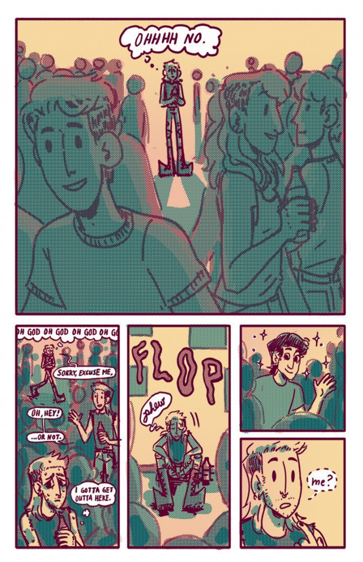 Ch 1 pg 10: Wyatt enters a party and is quickly overwhelmed by the crowd. He takes a second to decompress, but doesn't get long to rest– a pretty boy is waving at him.