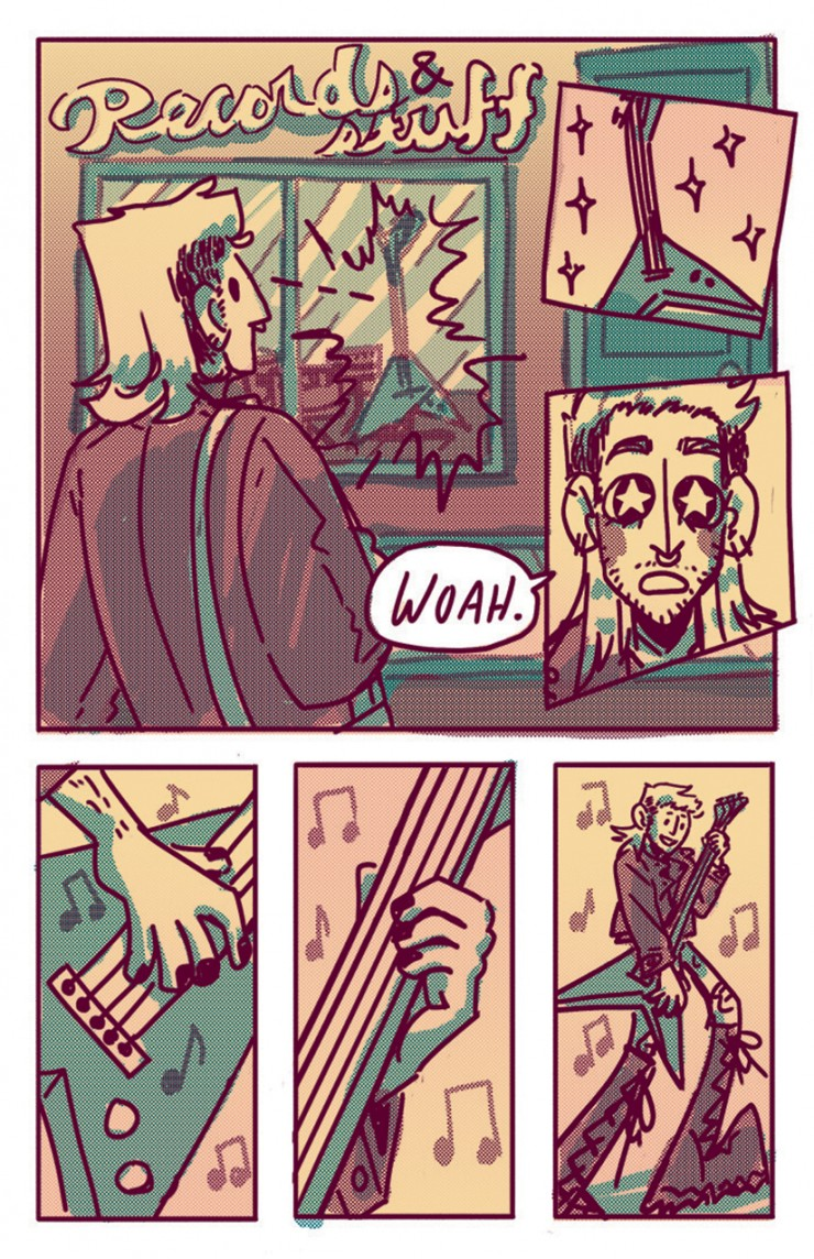 Ch 2 pg 14: Wyatt comes across a music store and falls in love with the ridiculous guitar in the window.
