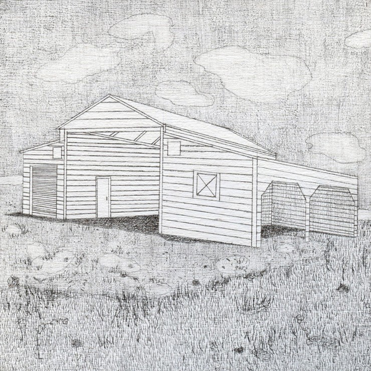 Drawing of isolated wooden barn on a cloudy day.