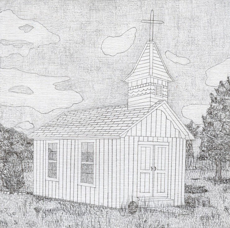 Drawing of a small church with a cross; surrounded by overgrown grass and trees.