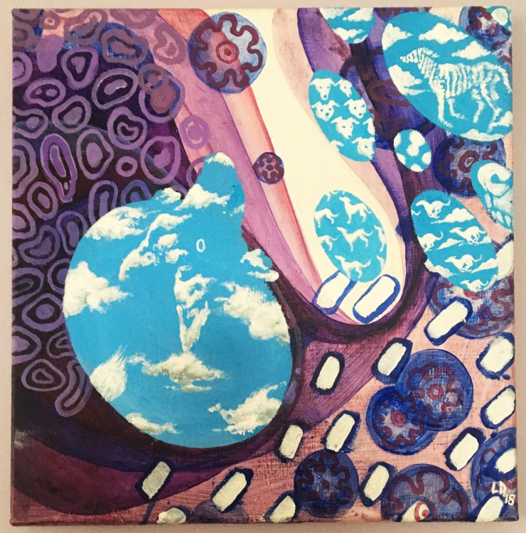Abstract blobs and sine-wave circles overlap in blue and purple. There are holes in the purple layer to expose a sky blue scene with white clouds shaped like greyhounds.