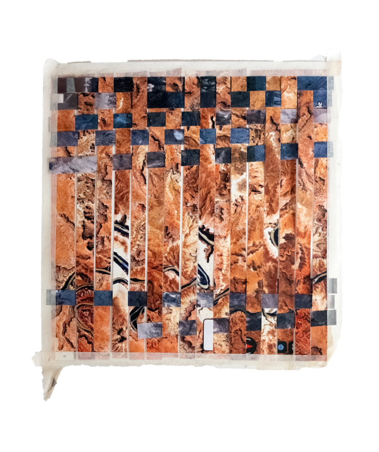 """images of desert landscape are woven (or """"spliced"""") into each other, playing off of various found colors in the images such as orange, blue, and green."""