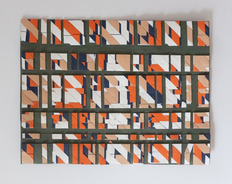 """Trace paper is manipulated to look like natural terrain and construction paper is splice and woven and glued together to emulate the """"woven-flat-collage"""" of a city grid. Nearly a hundred various each type of model exist."""