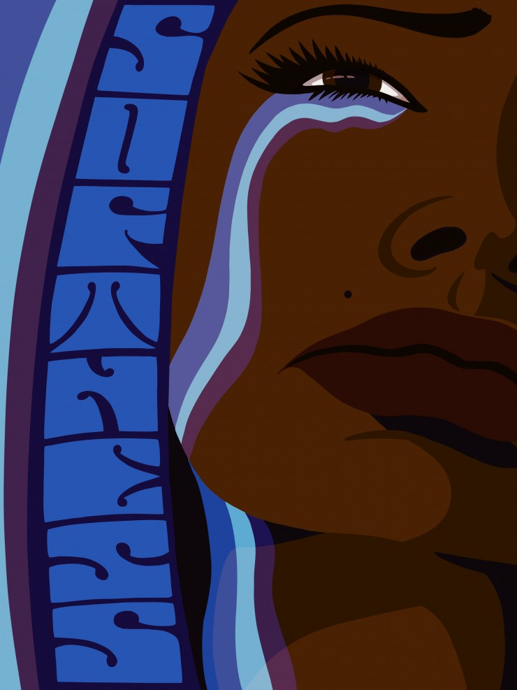 "A close-up of a dark skinned black woman crying multiple streams of tears. The word ""softness"" is hand-lettered and vertically frames the left side of the woman's face."