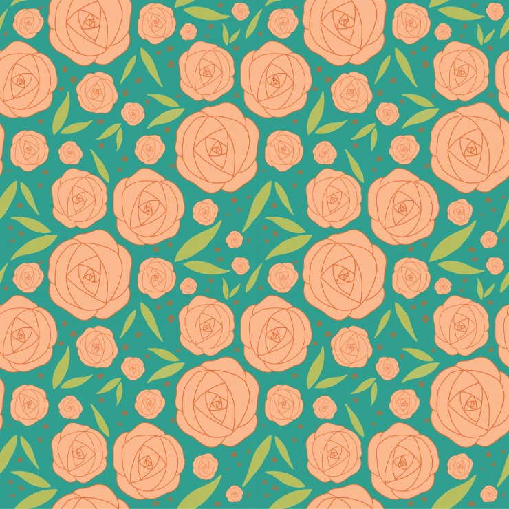 Two rose patterns in two different color palettes.