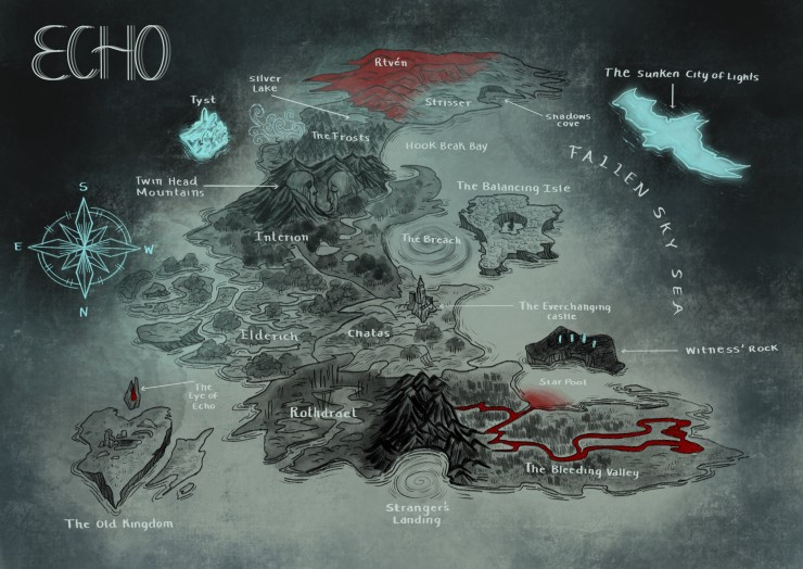 This image shows a grayish blue map of the world of echo. The main land mass is a crescent moon type shape with a heart shaped island at the bottom left hand corner, and a hawk shaped island that glows blue at the top right side of the image.