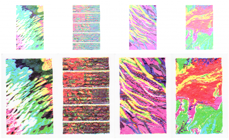 2 images, the first show 4 separate physical plots made by my program and a pen plotter. They are brightly colored and quite loud to look at. the second is a detail shot up close so you can see that the ink is bleeding into the sequential layers