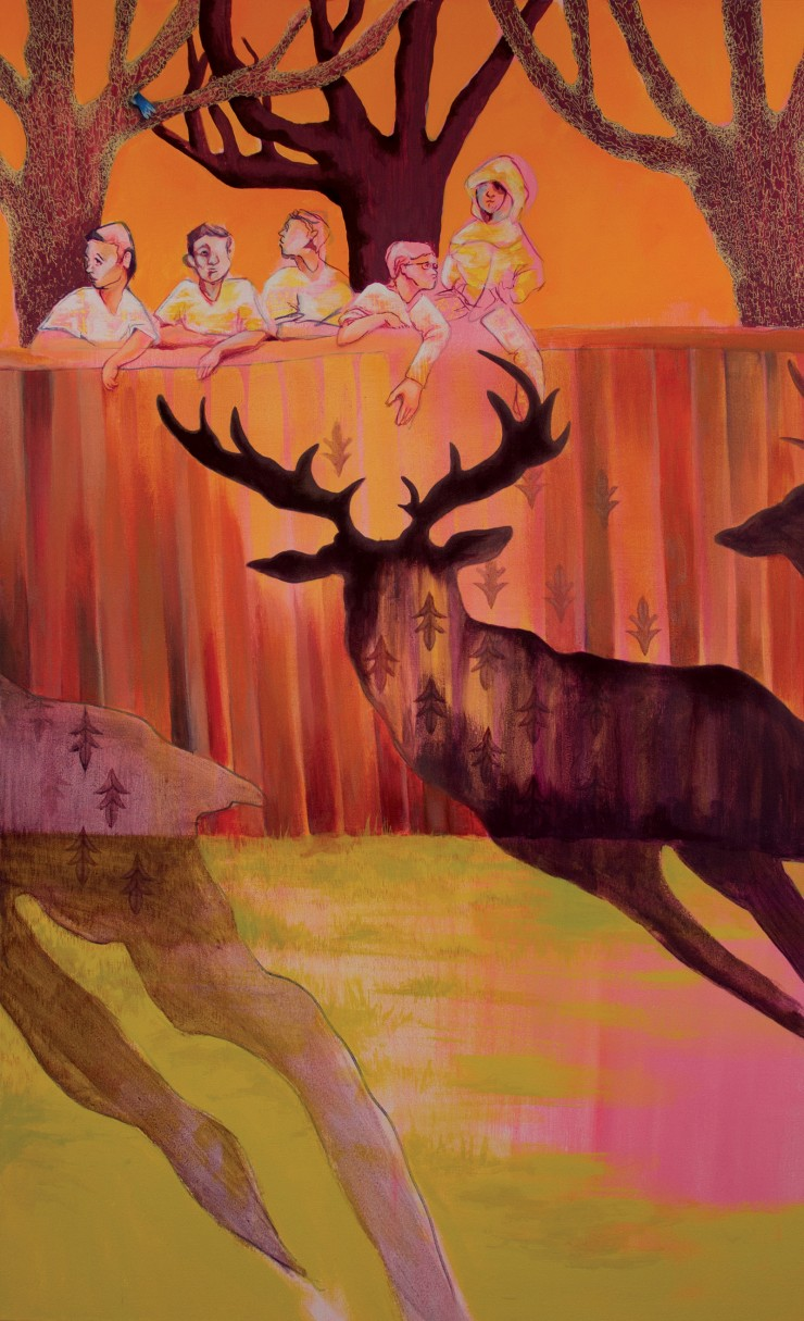 Five young boys look over the top of a tall wooden fence. Three deer cast long shadows onto the fence and the ground below. Dark entwined branches of trees are behind the five boys. The boys are rendered minimally and are translucent in some parts while t