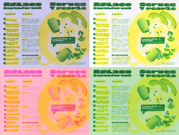 A 4-panel image of a recipe design for the Colombian dish Ajiaco Santafereño. The print on the top left is a 2 color Risograph print of green and yellow on lavender paper. The print on the top right is a 2 color Risograph print of green and yellow on whit