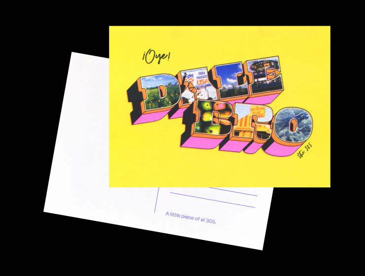 """Postcard in the classic """"Greetings From"""" style, juxtaposed with the Miami phrase """"Oye Dale Bro"""". The background has a solid bright yellow color, with extruded words in the foreground. The extruded words of """"Dale Bro"""" are a wide and chu"""