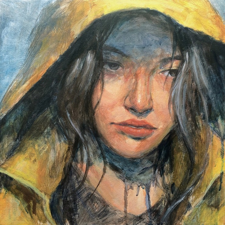 """This piece, """"We were caught in a storm...or something of that sort."""", is a portrait of a girl with the hood of a yellow raincoat over her head. Her eyes are looking downward, as if to turn away from confrontation, and her lips are slightly parte"""