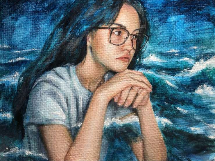 This piece, They Come and Go, depicts a portrait of a girl who is pondering in front of an ocean. She has her hands on top of one another and her head is resting on them. The ocean and it's waves scale from deep to vivid blues. Parts of the waves are also