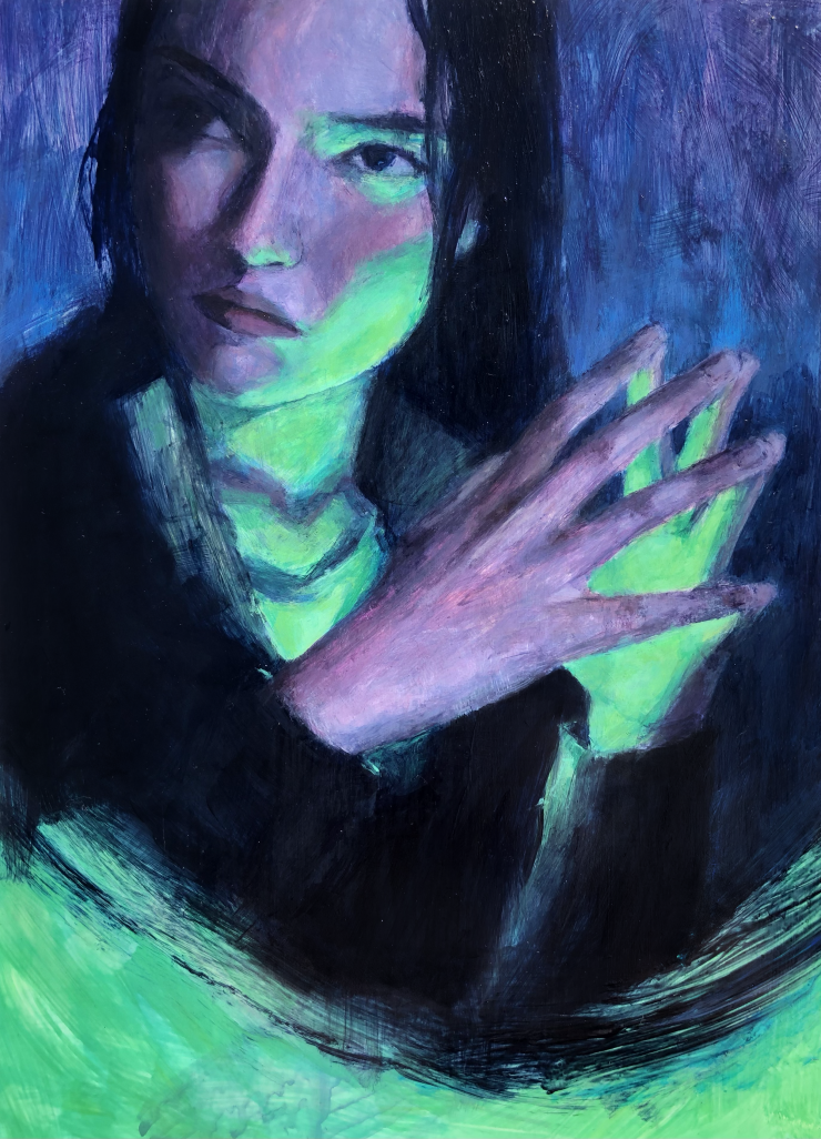 This piece, Regretful Envy, depicts a portrait of a girl in a dark space with a bright, green light glowing on her from below. Her body and hands face slightly to our right, but her face is facing to our left. Her expression is disgruntled. Below, part of