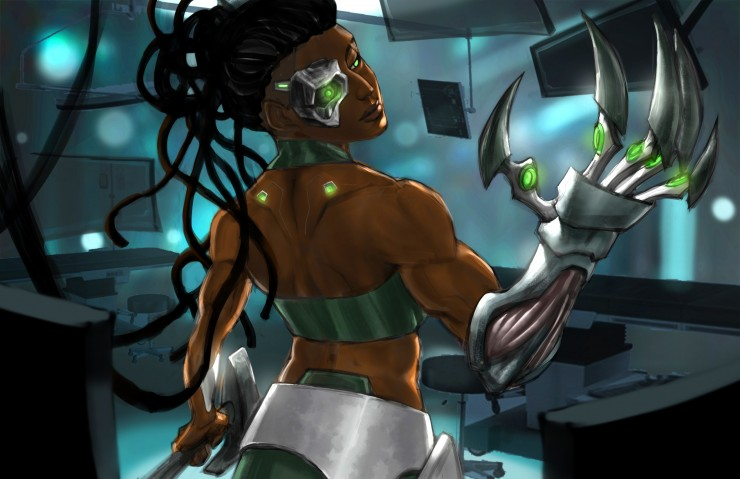 Series of character designs under Cyberpunk theme with two illustrations for two characters.