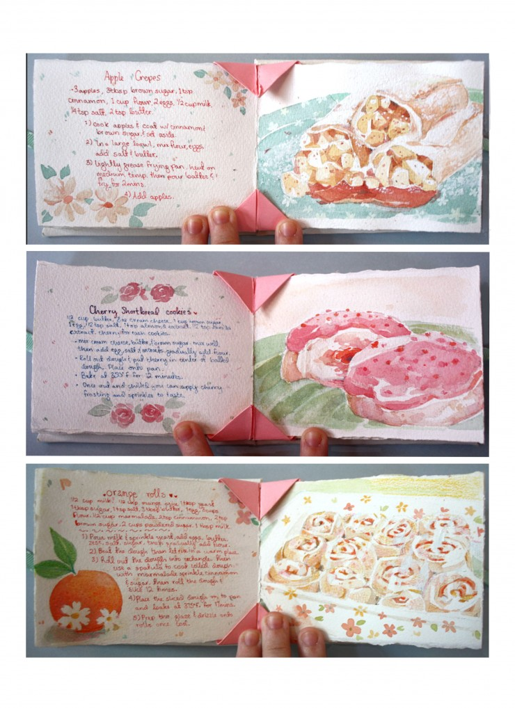 This depicts three pages of the Sweet Tooth Recipe Book. The recipes included are: Apple Crepes, Cherry Shortbread Cookies, and Orange Rolls.