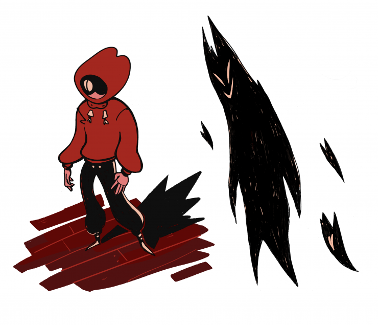 A character in a red hoodie and black track pants stands next to a pointy, shadow person. The person in the red hoodie's face is in shadow, except for one, snakelike eye.