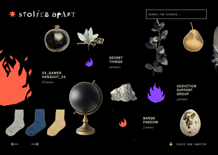 An eclectic composition of miscellaneous objects, and illustrations of fires. The fires vary in size and color, and are labelled with the names of the campfire and the number of stories. The user interface includes: the stories apart logo; a search box; n