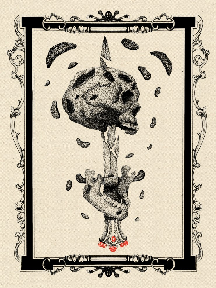 Stippled illustration of a broken skull and its jaw bone separated in front of a  broken sword, there's broken skull fragments floating around the illustration all while contained inside an intricate border.