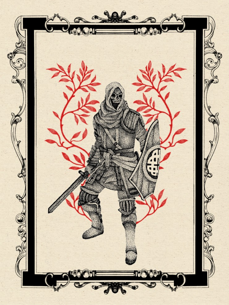 Stippled illustration of a Knight holding a sword and shield, red floral is behind it to its left and right all while contained inside an intricate border