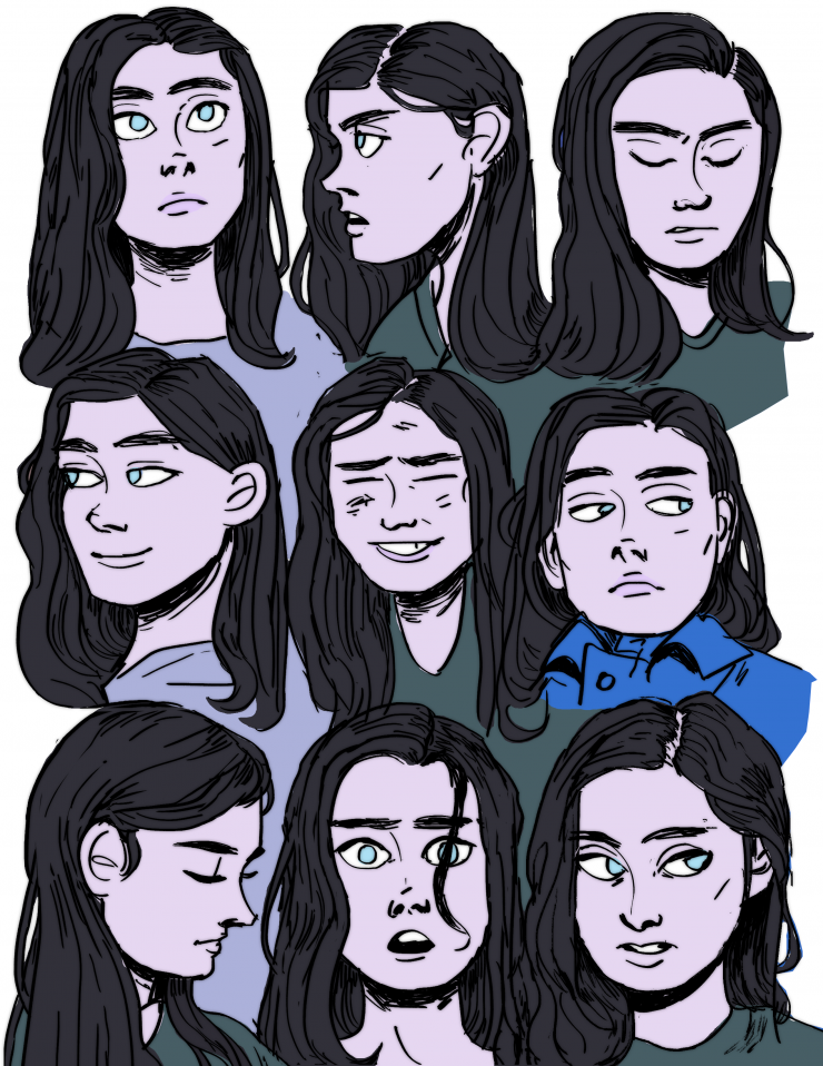 image 2: A girl named Eva in a variety of facial expressions.