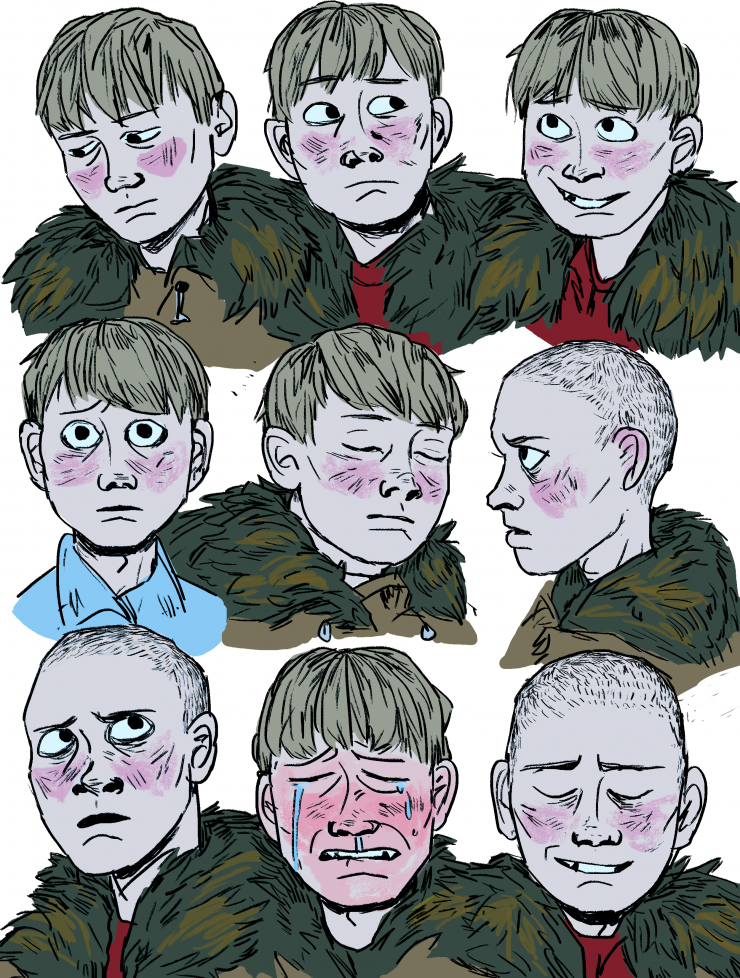 image 1: A boy named Kenny in a variety of facial expressions.