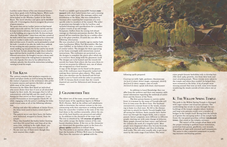 The Willow Well Conspiracy is a roughly forty-page roleplaying game adventure module using the 5th edition Dungeons and Dragons ruleset. It contains an original mystery-based adventure scenario, colorful character illustrations, and a selection of homebre