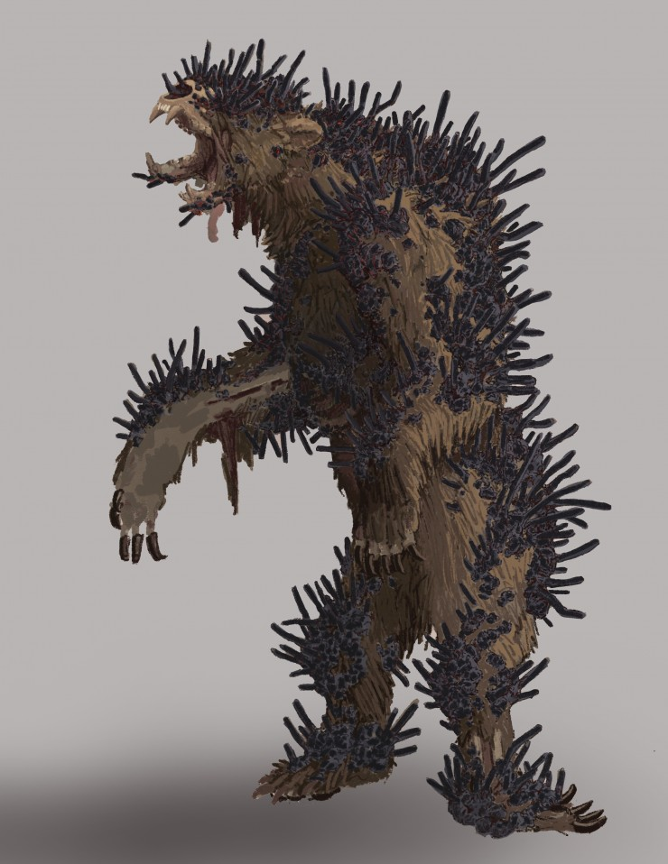 The second is a great beast referred to as Hammerclaw, that fell also fell victim to the Little Psiblings poison and became a fungal monstrosity as a result. It has the body of a shaggy bear, stood upright on crooked limbs is shaggy fur disrupted by dark