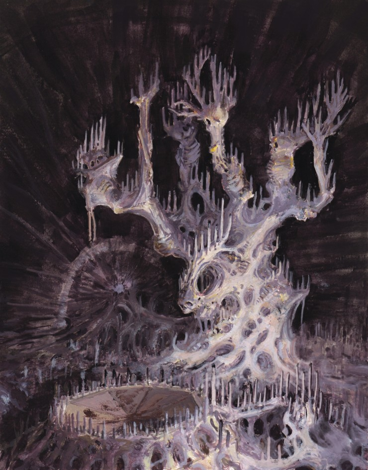 The first is the entity titled The Little Psibling, which takes the form of a white fungal tree grown around the skeletons of a number of dwarves who fell victim to its poisonous nature. Its white branches and fungal roots stand in stark contrast to the m