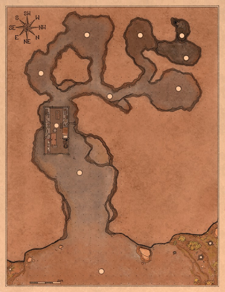 The images are visual aids for locations from the adventure. Included is a regional map of the adventure area including an overview of the town and a few surrounding locations, a detail location of a cave setting with a mad made structure built into it an