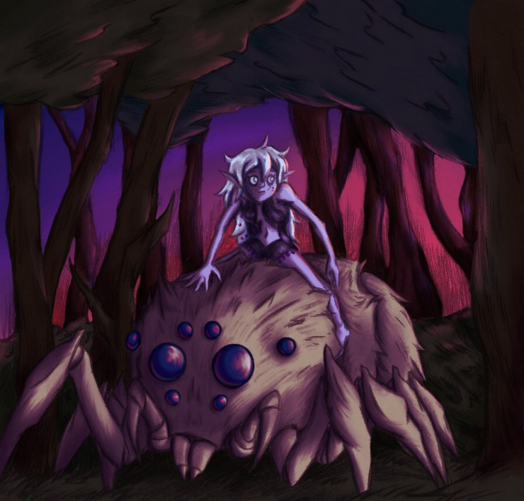 An elven girl bearing a fluffy white head of hair travels in the forest, atop a giant fuzzy spider, as the first morning rays strike.