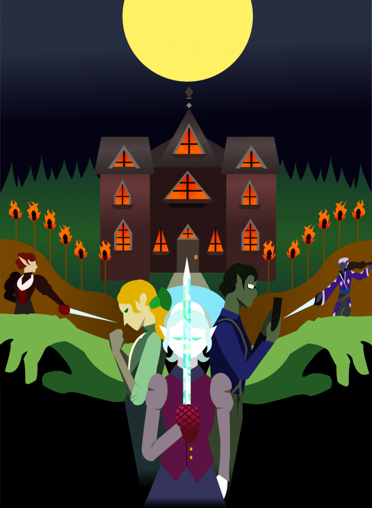 A graphic poster of adventurers that prepare to deal with a long night at a torch decorated, cursed manor under the full moon.
