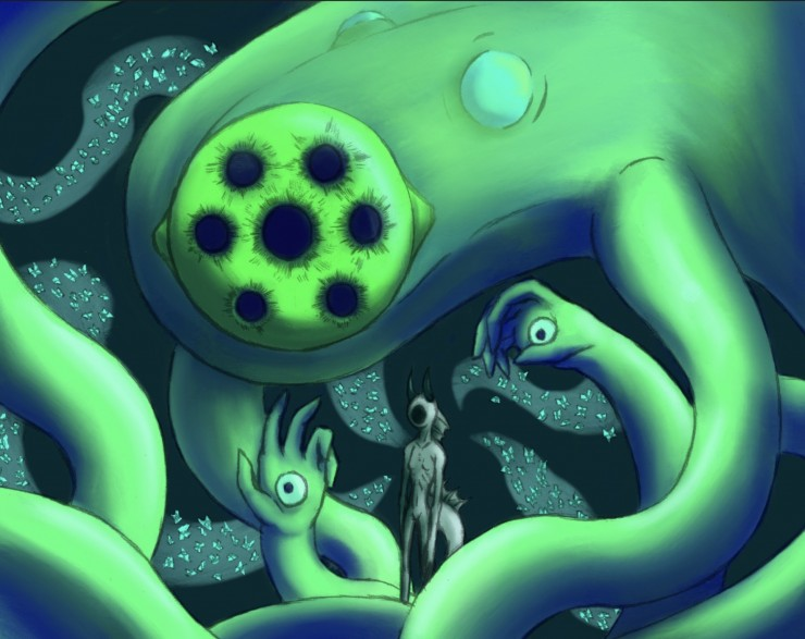 An eldritch Kraken and their Mutant servant. A green terror of tentacles with hands, and a faceless creature, not quite fish, not quite humanoid. One staring green eye with seven pupils, also known as The Eye of the Abyss.
