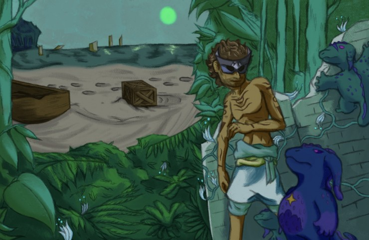 An enigmatic masked island man lies in hiding as he observes the remains of unseen travelers, come with crates and boats. Little green and blue axolotl like creatures have joined him, however, and they notice each other, from behind undergrowth and ruins.