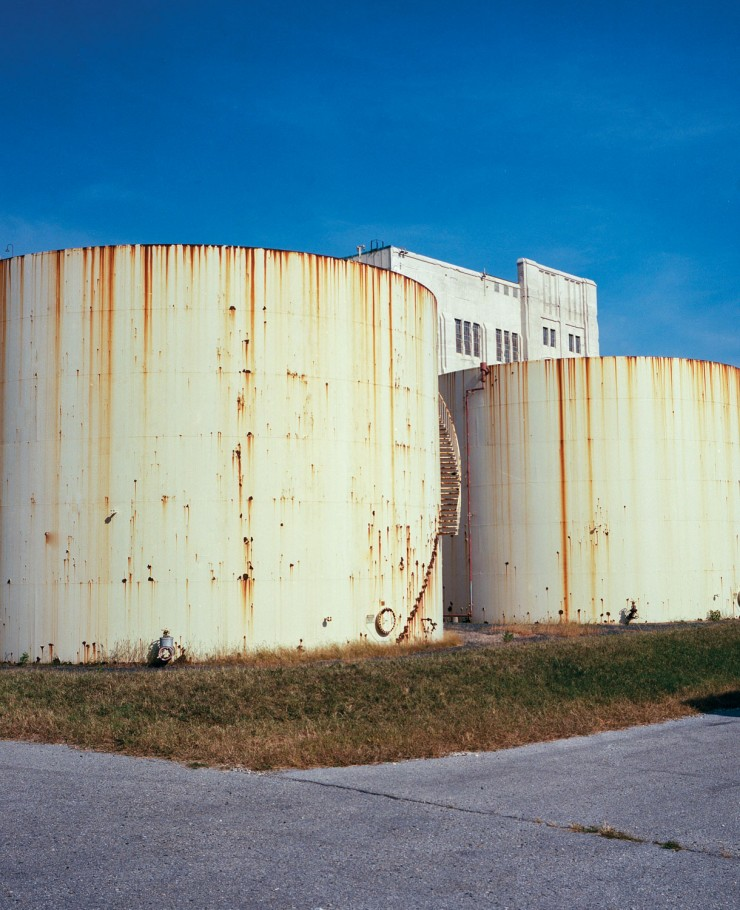 A photograph of water storage tanks at the Gould Street Generating Station.
