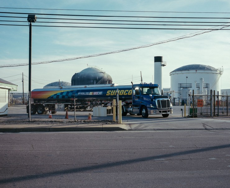 A diesel truck leaves the Sunoco storage terminal on Northbridge Avenue in Curtis Bay, Maryland. Sunoco processes and stores refined petroleum products and crude oil at these facilities.