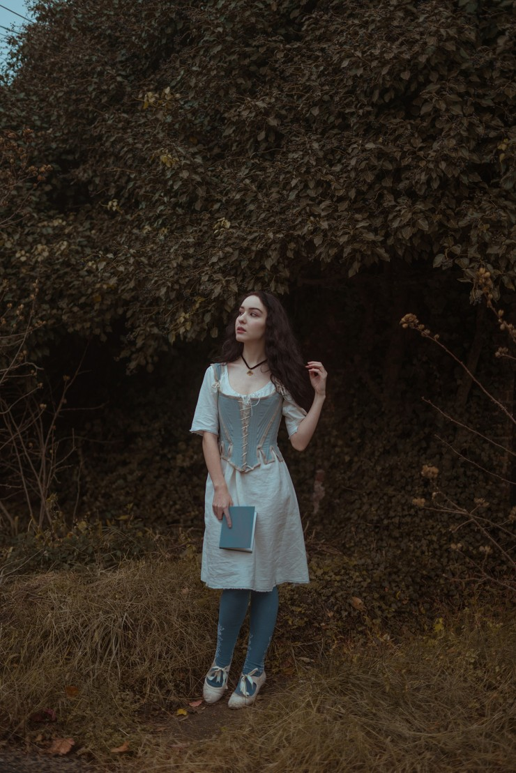 Linen shift and pair of 18th century stays. Photography by Evelyn Ivy and modeled by Abby Holgerson.