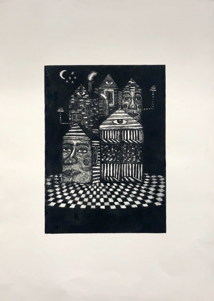 Before We Fall Asleep (black & white). Etching with aquatint