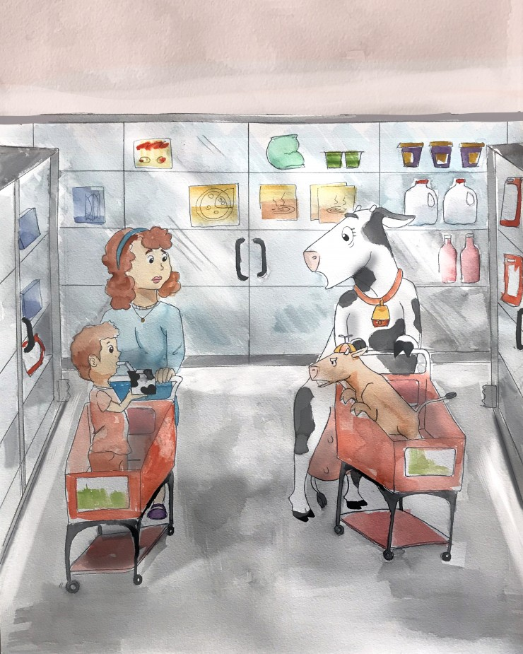 Mother cow is pushing her calf in a grocery cart alongside a human mother pushing her child in a cart down the frozen food section. The cow and calf display a shocked look on their faces at the site of the little human boy drinking cows milk from a milk c