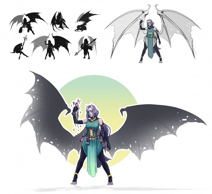 Silhouettes, sketch, and final rendering of full demon formed girl Faeron with wings extended. Illustration.