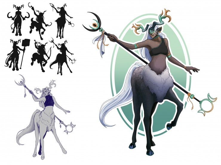 Silhouettes, sketch, and final rendering of a female centaur side character. Illustration.