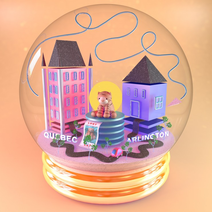 Digital render of a snow globe depicting a stuffed cat, and the events of a road trip through various objects
