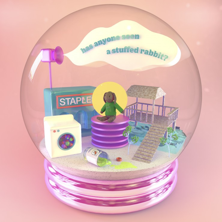 Digital render of a snow globe depicting a stuffed rabbit, among other supporting objects