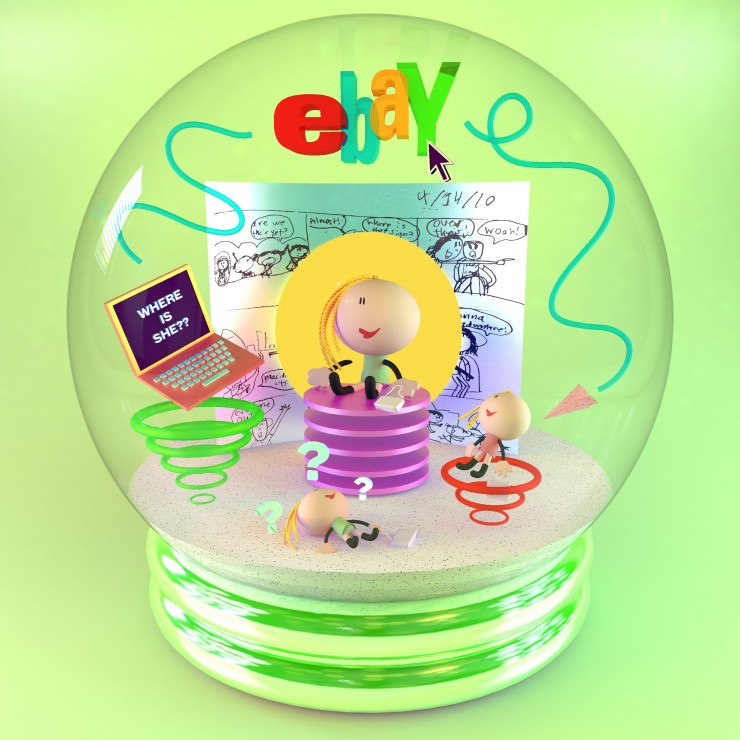 Digital render of a snow globe depicting a doll keychain surrounded by other supporting objects