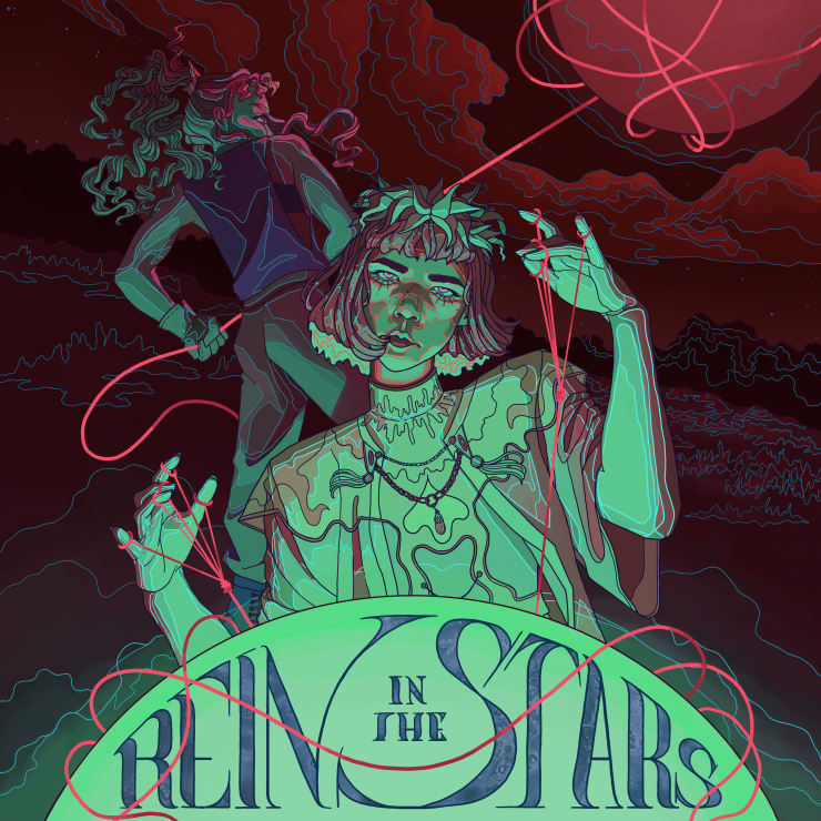 This album cover is called Rein in the Stars and that's just what these two figures are trying to do. The figure in the background is ripping a planet through the atmosphere using a glowing, pink, lasso. The figure in the foreground is using some sort of