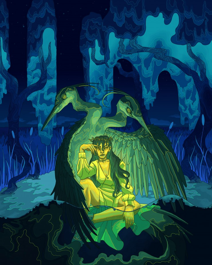 An agitated woman with very long hair and a glowing chartreuse gown is sitting half-submerged in a swamp. She is lounging on the base of a two-headed crane and sea serpent creature that surrounds the figure like both a throne and a protector. Contorted, f